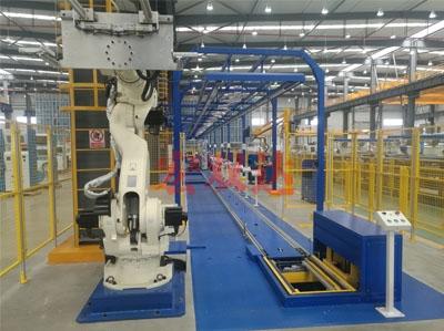 CNG加气机自动装配线激光AGV叉车及机器人自动上线